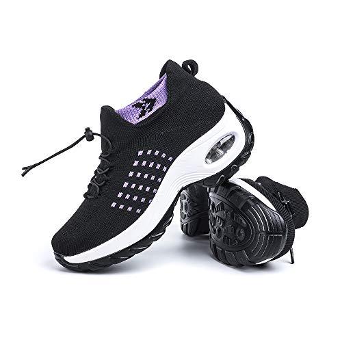 Scarpe Ginnastica Donna Sneakers Running Camminata Corsa Basse Tennis Air Traspiranti Sportive Gym Fitness Casual Comode Porpora Taglia 41