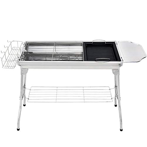 AINY BBQ-Grill, Edelstahlgrill Grill Raucher Holzkohle BBQ, Folding Tragbare Grill BBQ Für Personen Familiengarten Outdoor Kochen Wandern Picknicks Camping