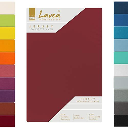 Lavea Jersey Spannbettlaken, Spannbetttuch, Serie Maya, 180x200cm | 200x200cm, Bordeaux, 100% Baumwolle, hochwertige Verarbeitung, mit Gummizug
