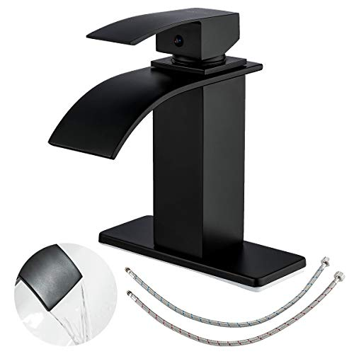 FRUD Black Waterfall Spout Bathroom Faucet Single Handle Bath Vanity Sink Faucet Brass Commercial Rv Lavatory Basin Mixer Faucet with Deck Mount,Water Supply Hoses Included,Spain Ceramic Valve