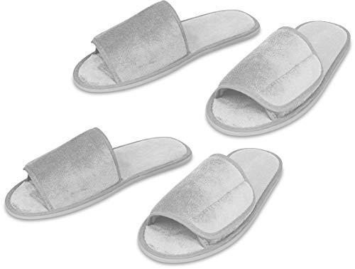 Frottee Hausschuhe Wellness Slipper, extraweich und bequem, Klettverschluss, Größe:S/M, Farbe :Weiss