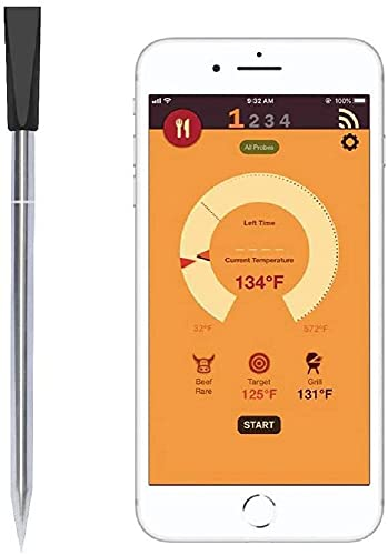Termometro Bluetooth a Sonda Senza Fili per Forno, Grigliate, Barbecue App Compatibile con iPhone, Android, iPad e Tablet da 0 a 275 Gradi con Timer