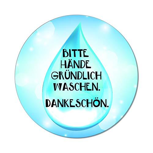 Logbuch-Verlag Hinweisschild Bitte GRÜNDLICH HÄNDE WASCHEN rund 10 cm blau weiß - Wassertropfen Optik - Händewaschen Schild Firma Schule WC Bad