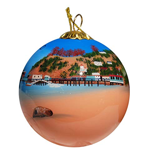 Art Studio Company Hand Painted Glass Christmas Ornament - View of Pier & Town Catalina Island