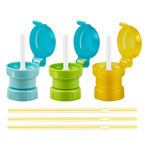 Ponpon 3pcs Spill Proof Water Bottle Twist Cover Cap Portable Juice Soda Water Bottle Caps with Straw for Children