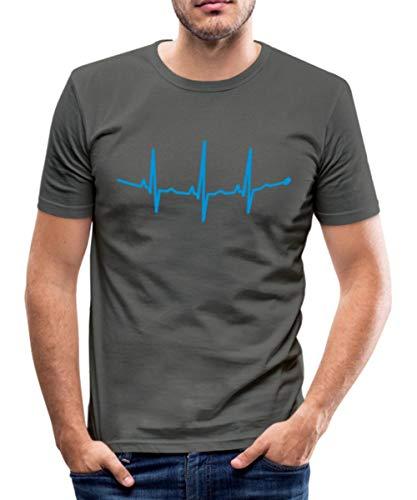 Herzschlag Beat Bass Männer Slim Fit T-Shirt, L, Graphite