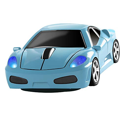 Wireless Mouse 2.4GHz Cool Sport Car Shape Wireless Mouse Optical Cordless Mice with USB Receiver for PC Laptop Computer 1600 DPI 3 Buttons (Light Blue)