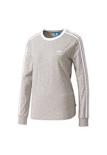 adidas Damen 3-Streifen Langarm-Shirt, Medium Grey Heather, 34