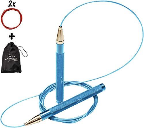 SVEPAT Profi Springseil Speed Rope mit Self Lock System - Aluminiumgriffe, Ersatzseil, Tasche - für Kinder und Erwachsene. Optimal für Fitness, Boxen, MMA, HIIT, Ausdauer und Abnehmen (Blau)