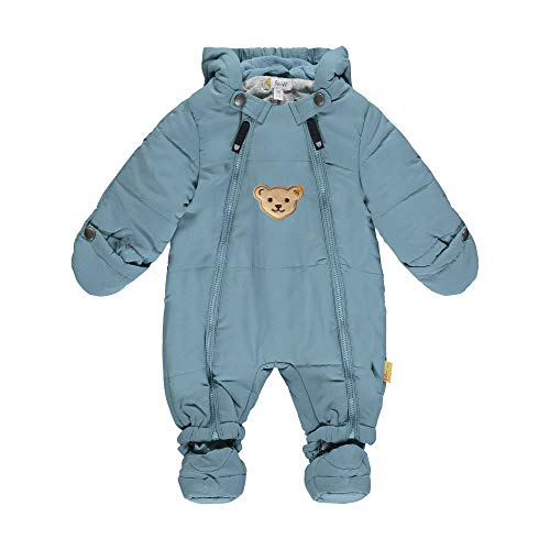 Steiff Baby-Unisex mit süßer Teddybärapplikation Schneeanzug, Türkis (Adriatic Blue 6045), 074