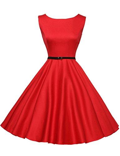 GK Vintage Dress Damenkleider elegant Rockabilly Kleid festliches Kleid 50s Vintage Audrey Hepburn Kleid Größe M CL6086-12