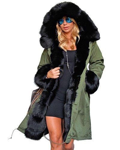 Roiii Damen Winter Warm Dick Kunstpelz Mantel Kapuze Parka Lange Jacke Größe 36-50(XL,Armeegrün)