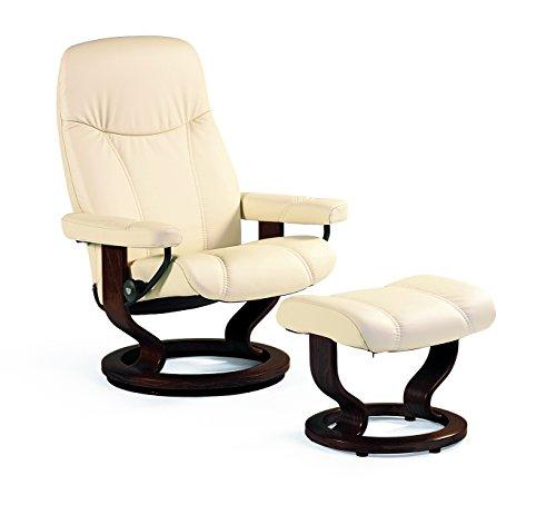 PRIMA Clever einrichten Stressless Bequemsessel inkl Hocker creme Echtleder Sessel Sitz Armlehnen Hochlehne Sitzmöbel