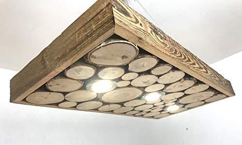 *Blockholz-Schmiede LED Holz Hängelampe 80cm – 160cm Lampe Smart Home Rustikal Massivholz Altholz, Größe: 5 LED 120cm x 42cm, Formatvorlagen Name: Osram 5W Warmweiß*