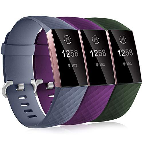Dirrelo 3 Pack Compatible con Fitbit Charge 3/Fitbit Charge 4/Charge 3 SE Correa para Mujeres Hombres, Pulsera Deportiva de Repuesto Ajustable de Silicona Suave para, Prugna+Grigio+Verde L