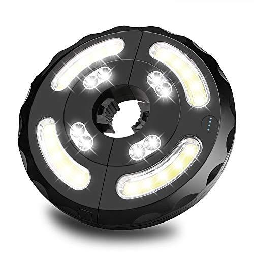 Linkax Lámpara para Sombrilla de Patio Luz Parasol 8 LED + 4COB con 3 modos, USB recargable y funciona con pilas para Sombrillas y Paraguas de Playa, Patio, Jardín y Piscina