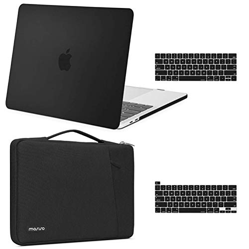 MOSISO Compatible with MacBook Pro 13 inch Case 2016-2020 Release A2338 M1 A2289 A2251 A2159 A1989 A1706 A1708, Plastic Hard Shell Case & 360 Protective Sleeve Bag & Keyboard Cover Skin, Black