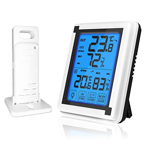 DollaTek LCD Ampio Schermo Touch termometro Digitale Senza Fili igrometro Monitor retroilluminato Orologio Meteo da Interno ed Esterno per Ufficio Camera da Letto casa - Un Host Un Lanciatore