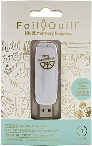 We R Memory Keepers Foil Quill Memoria USB Art Drive, Amy Tangerine, con 200 Temas, Frases e Imágenes, CREA Brillantes Adornos y Diseños, Blanco