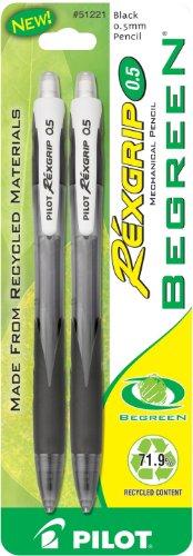 Pilot BeGreen RexGrip Mechanical Pencils, 0.5mm HB, 2-Pack (51221)
