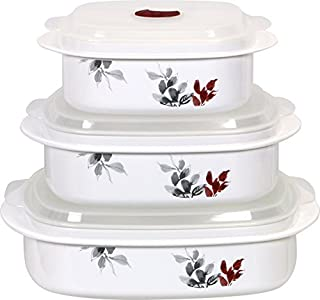 Corelle Coordinates Kyoto Leaf Microwave Cookware and Storage Set, Grey/Cabernet by Corelle Coordinates
