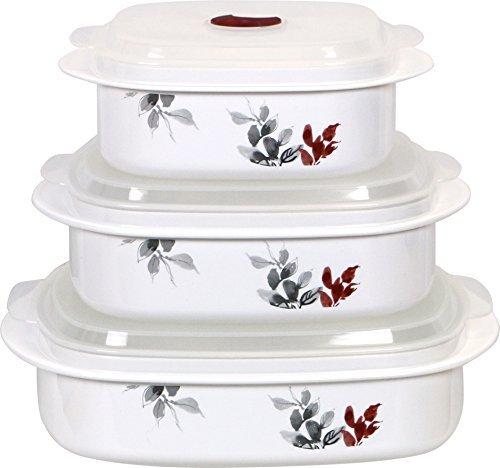 Corelle Coordinates Kyoto Leaf Microwave Cookware and Storage Set, Grey/Cabernet by Corelle Coordinates