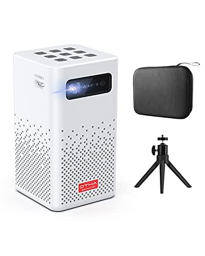 OTHA Mini Proyector WiFi Bluetooth, Proyector Portátil Android 9.0, DLP Proyector LED 150ANSI Lumens, Proyector de Películas Compatible con Smartphone / PS4 / Firestick, Batería Incorporada