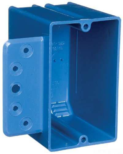 Carlon B118B-UPC Switch/Outlet Box, New Work, 1 Gang, 3-3/4-Inch Length by 2-1/4-Inch Width by 2-15/16-Inch Depth, Blue