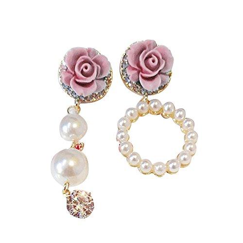 Teenxful Bluelans Fausse Perle brillant Strass Fleur Floral Cadeau de l'Asymétrie Boucles d'oreilles à tige – Bleu, rose, Taille unique