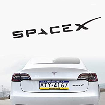 SPACEX Decals 3D Metal Tesla Emblem Sticker Badge Decals Fit Tesla Model Y Model 3 Model X Model S Decorative Accessories