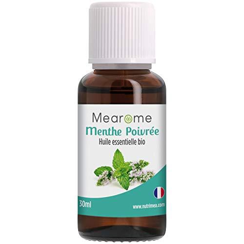 Huile Essentielle de MENTHE POIVREE BIO - Mentha Piperita - Distillée en FRANCE - Mearome - 30 ml - 100% Pure et Naturelle, HEBBD, HECT