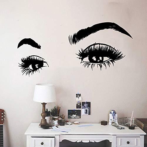 Ojo salón de belleza decoración del hogar pegatinas de pared para habitación de niños sala de estar decoración del hogar impermeable pared arte calcomanía A7 57x117cm