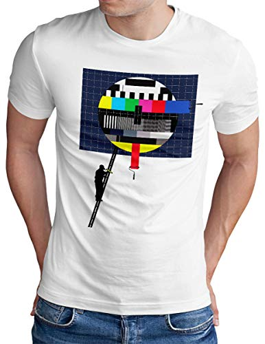 OM3® Testbild-Painter T-Shirt - Herren - Retro TV Sendeschluß Analoger Fernseher - Weiß, XL