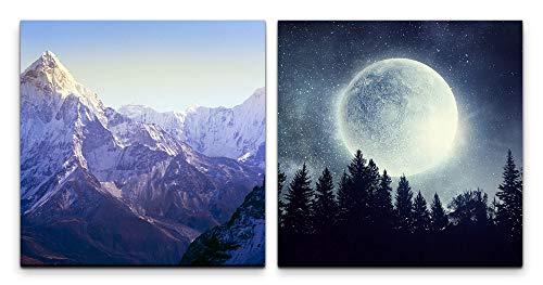 Paul Sinus Art Wandbild 2x60x60cm Berge Berggipfel Vollmond großer Mond Wald Nacht Sterne
