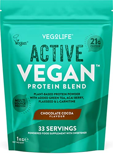 Vegan Protein Powders - Active Vegan Protein 1kg - 21g Protein Per Serving - Multi-Source Pea Protein Powder - UK Made - Chocolate Vegan Protein Shake - 33 Servings - Registered by Vegan Society
