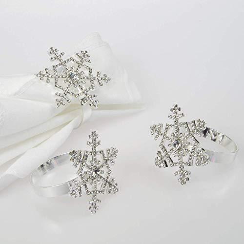 Poitemsis Silver Snowflake Napkin Rings with Diamond for Christmas Thanksgiving Table Decoration(Set of 6)
