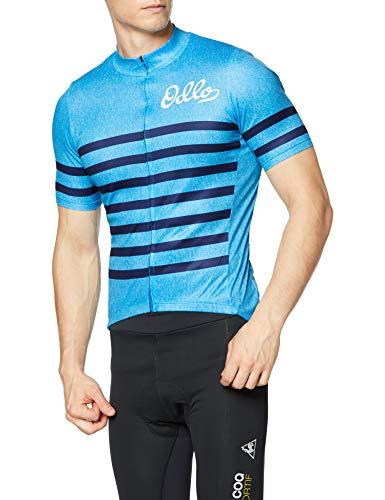 Odlo Herren Element Stand-up Collar Full Zip Longsleeve T-Shirt, Blue Aster Melange - Estate Blue, L