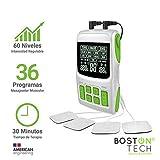 Boston Tech WE112 - Boston Tech - We-112 - Electroestimulador Digital Profesional 3 En 1, Tens, Ems, Masaje. Alivio Al Dolor Y Fortalecimiento Muscular General, Pantalla Lcd, 2 Canales, 4