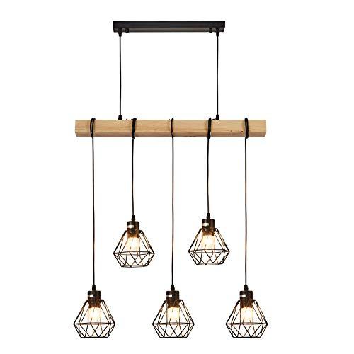 Baida 5 X Retro Industrial Pendant Light, Lustre Vintage en bois massif, Hanging Light pour Restaurant, E27 Socket, pour salle à manger, Café, restaurant, bar, ect.