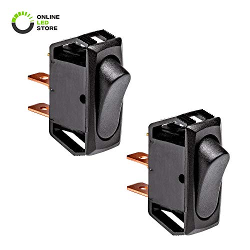 2pc 12v Momentary Rocker Switch [For SWH0081/SWH0082 Switch Boxes] [SPST] [Positive or Negative Trigger] Ideal for Multiple Flashing Mode Strobe Lights, Beacon Lights, Dash Lights, and Air Horns