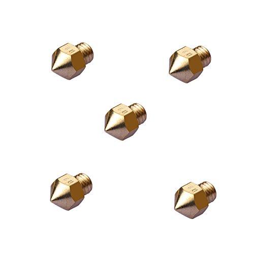 SEINOC 0.2mm 0.3mm 0.5mm Cabeza de impresión de la impresora 3D de la boquilla 3D para MK8 Makerbot 1.75mm (Paquete de 5 x 0.3mm)
