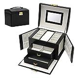 SHAMATE Caja de joyería de gran capacidad pendientes collar con espejo reloj de joyería cajón caja de almacenamiento collares forro de terciopelo