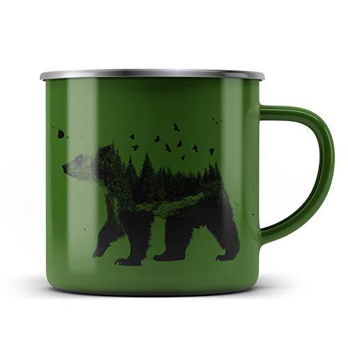 Ma2ca® Bearwood Bär Canada Camper Kanada Emailletasse Campingbecher Tasse Emaillebecher Kindertasse Becher-Gruen