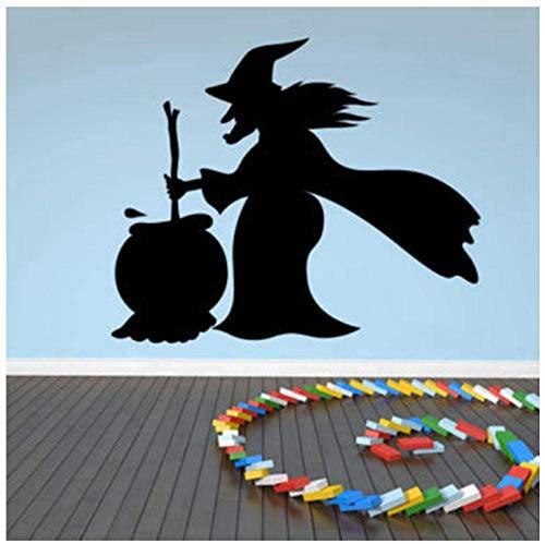 Ketel Koken Heksenheks Halloween Muursticker 1 Stuk Nieuwe Heks Silhouette Muursticker Halloween Decoratie Muursticker 52 * 44 cm