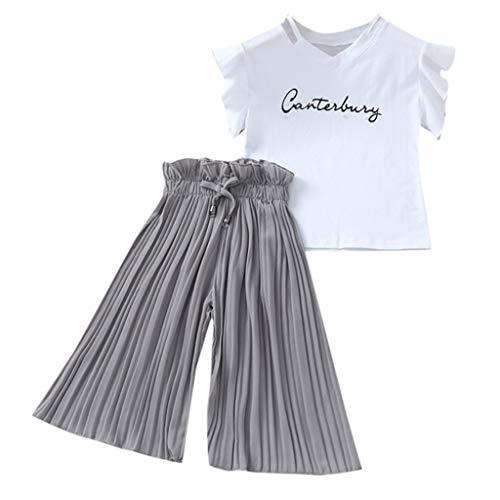 Mamum Enfants Enfants bébé Filles Lettre t-Shirts Hauts+Volants Pantalons Amples Tenues Costume