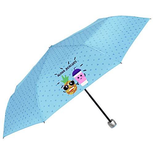 Paraguas Plegable Mujer Chica Azul con Frases Divertidos Aloha Beaches - Paraguas Mini Liso Resistente Antiviento de Fibra de Vidrio - Manual - PFC Free - Diametro 97 cm - Perletti Time (Turquesa)