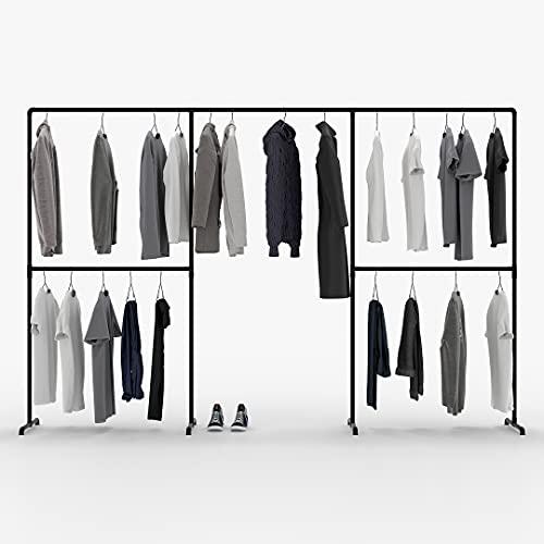 pamo freistehende Kleiderstange im Industrial Loft Design - LAS III - Garderobe für begehbaren Kleiderschrank Wand I Schlafzimmer Kleiderständer aus schwarzen stabilen Rohren - freistehend