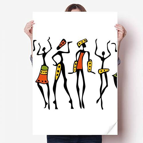 DIYthinker Afrique Primitive autochtone Noire Danse Totems Vinyle Autocollant de Mur Poster Mural Wallpaper Chambre Decal 80X55Cm 80cm x 55cm Multicolor