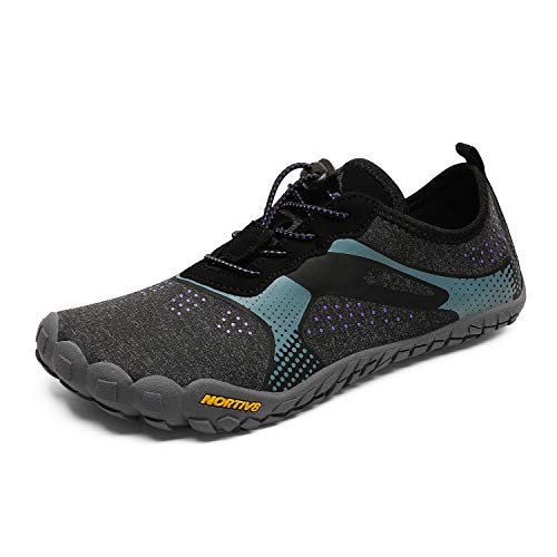 NORTIV 8 Women s Quick Dry Water Shoes Barefoot Aqua Swim Shoes for Beach Sports Fishing Hiking Boating Surfing Black Grey Purple Size 8 M US Treklady-1