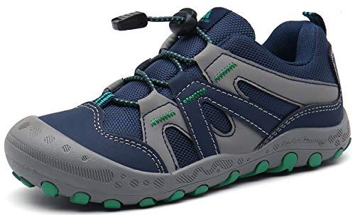 Trekkingschuhe für Kinder Wanderschuhe Jungen Mädchen Mit Schnellverschluss Atmungsaktive Schuhe rutschfest Laufschuhe für Outdoor,Blau,34 EU